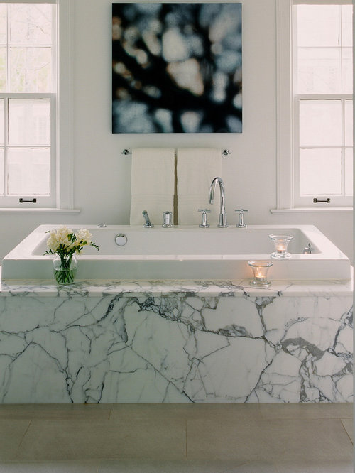 Amazing Inspiration For A Modern White Tile And Marble Tile Drop In Bathtub Remodel  In Toronto