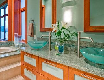 Modern Wood & Blue-Green Master Bath
