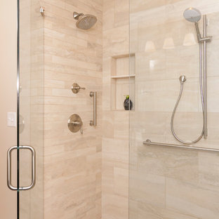 Inspiration for a modern blue tile and ceramic tile ceramic floor and white floor bathroom remodel in DC Metro with dark wood cabinets, an undermount sink and a hinged shower door