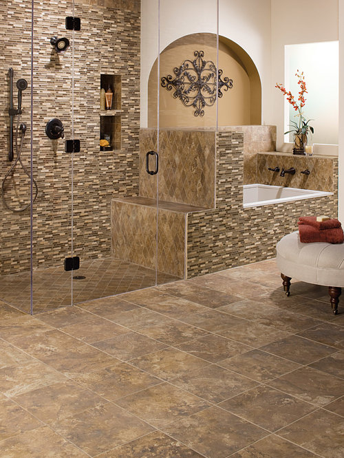 example of a mid sized southwest master beige tile brown tile gray tile - Matchstick Tile Bedroom Decor