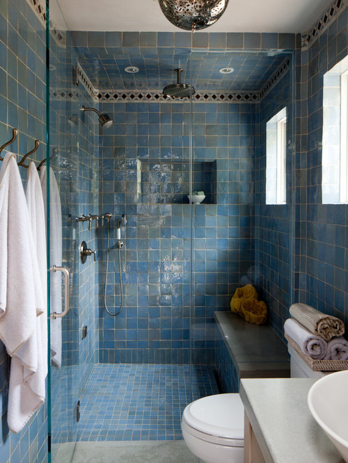 Blue Tile Shower Ideas, Pictures, Remodel and Decor