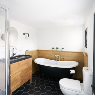 Monochrome family bathroom with Scandi-style and black detailing