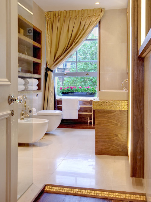 Bathroom   Large Contemporary Mosaic Tile Bathroom Idea In London With A  Vessel Sink, A
