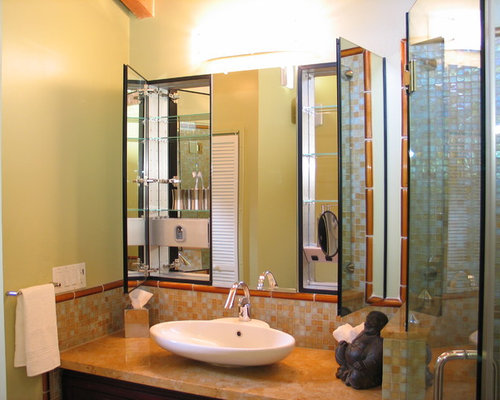 example of an asian bathroom design in san francisco with mosaic tile and a vessel sink - Robern Medicine Cabinet
