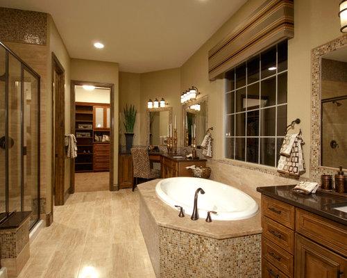 Mediterrane badezimmer mit brauner wandfarbe ideen design bilder houzz - Mediterranes badezimmer ...