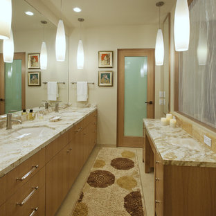 Trendy bathroom photo in Santa Barbara with an undermount sink, flat-panel cabinets and medium tone wood cabinets