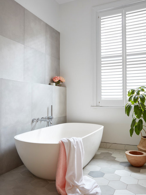 White peach and gray bathroom design ideas remodels photos for Peach colored bathroom ideas