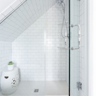 Small transitional 3/4 white tile and subway tile mosaic tile floor, white floor, single-sink, wood ceiling and wood wall corner shower photo in Philadelphia with white cabinets, a two-piece toilet, gray walls, a pedestal sink, a hinged shower door, white countertops and a freestanding vanity