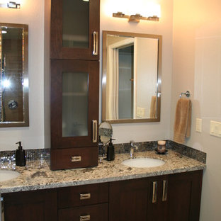 Mid-sized elegant master gray tile and stone tile travertine floor bathroom photo in San Francisco with an undermount sink, recessed-panel cabinets, dark wood cabinets, granite countertops and beige walls