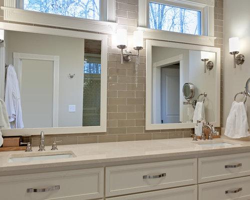 Taupe Subway Tile Bathroom Design Ideas Renovations Photos