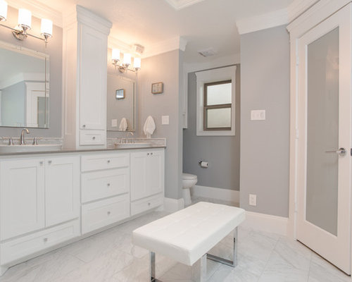photo of a medium sized traditional ensuite bathroom in dallas with a vessel sink recessed - Matchstick Tile Bathroom Ideas