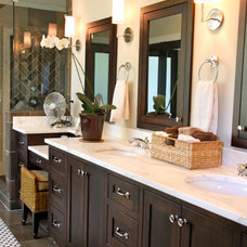 Transitional Bathroom by Graystone Design + Build