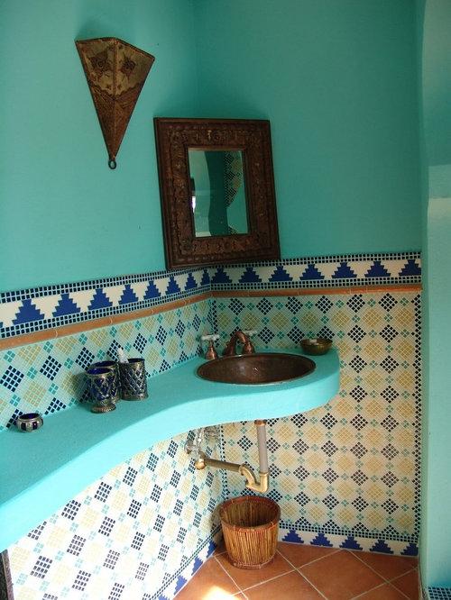 Salle de bain avec un sol en carreau de terre cuite et for Un carreau de terre