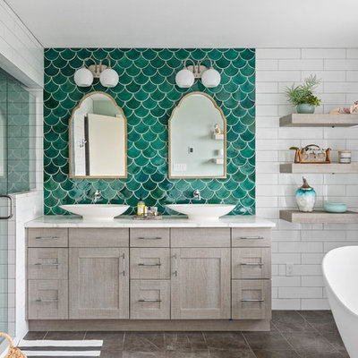 Large beach style master green tile and subway tile porcelain tile and gray floor bathroom photo in Seattle with gray cabinets, a vessel sink, quartz countertops, a hinged shower door, white countertops, shaker cabinets and green walls