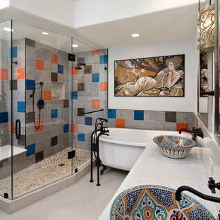 Mid-sized tuscan master blue tile, gray tile and orange tile gray floor bathroom photo in San Francisco with white walls, a vessel sink and a hinged shower door