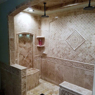 Inspiration for a huge mediterranean master beige tile and porcelain tile porcelain floor and beige floor bathroom remodel in Nashville with green walls