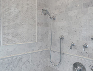 Mosaic wall tile and shower controls