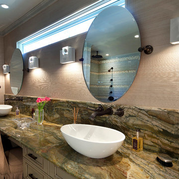 Moss Master Bath with Vessel Sinks