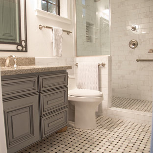 Inspiration for a modern master white tile and subway tile marble floor double shower remodel in Phoenix with shaker cabinets, gray cabinets, a one-piece toilet, white walls, an undermount sink and quartzite countertops