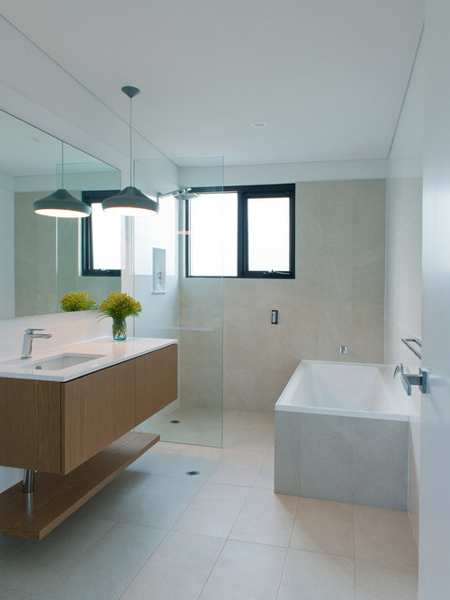 Design Ideas For A Mid Sized Modern Bathroom In Perth With Flat Panel  Cabinets