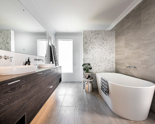 scandinavian home design. This is an example of a scandinavian bathroom in Perth with flat panel  cabinets Scandinavian Home Design Ideas Photos