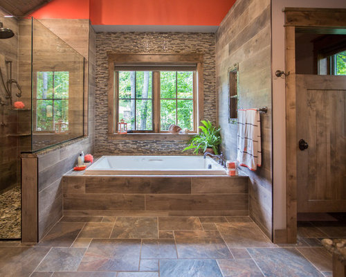 inspiration for a large rustic master multicolored tile and matchstick tile porcelain floor and multicolored floor - Matchstick Tile Bathroom Ideas