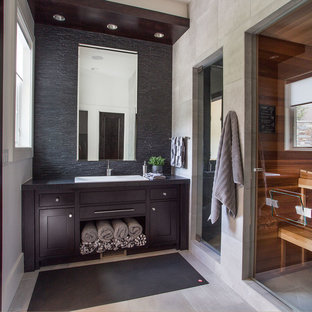 Inspiration For A Contemporary Beige Tile And Black Tile Bathroom Remodel  In Salt Lake City With