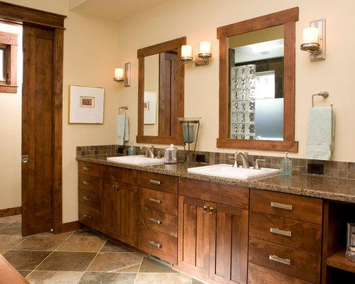 midsized craftsman master brown tile and ceramic tile ceramic floor bathroom idea in phoenix
