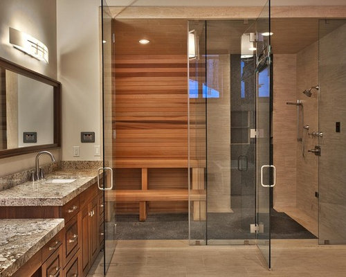 Expansive Contemporary Sauna In Salt Lake City With Raised Panel Cabinets,  Dark Wood Cabinets