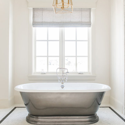 Bathroom - mid-sized traditional master white tile and marble tile marble floor and white floor bathroom idea in Salt Lake City with recessed-panel cabinets, beige cabinets, white walls, an integrated sink, marble countertops, a hinged shower door and white countertops