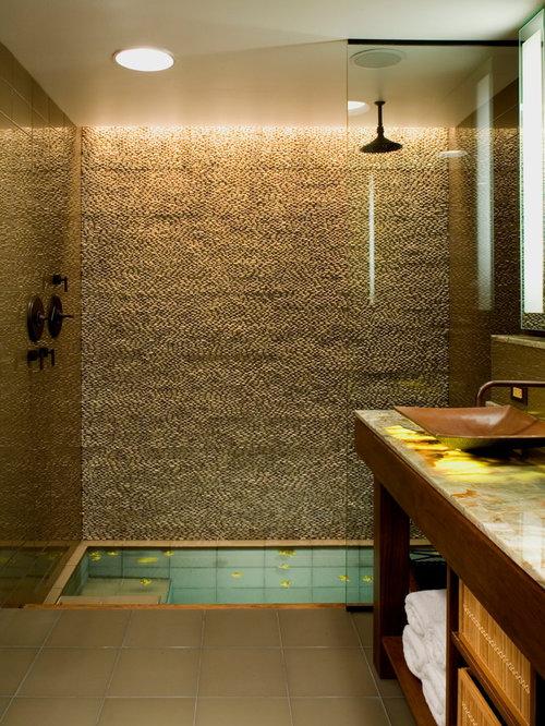 Rustic Bathroom Design Ideas Renovations Photos With Glass Tiles