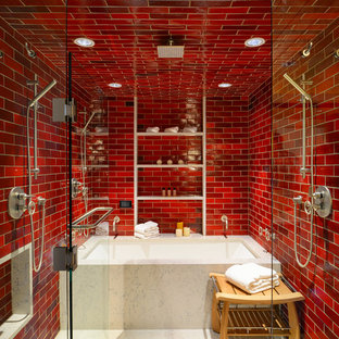 Trendy red tile and subway tile alcove bathtub photo in San Diego with red walls