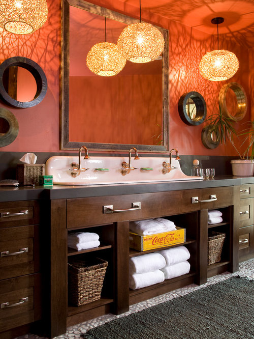 Example Of A Mountain Style Bathroom Design In Denver With A Trough Sink Dark Wood