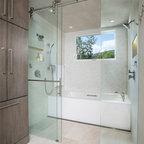 White Marble Shower Contemporary Bathroom Detroit