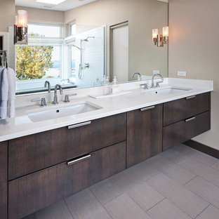 Example of a transitional bathroom design in Seattle with an undermount sink