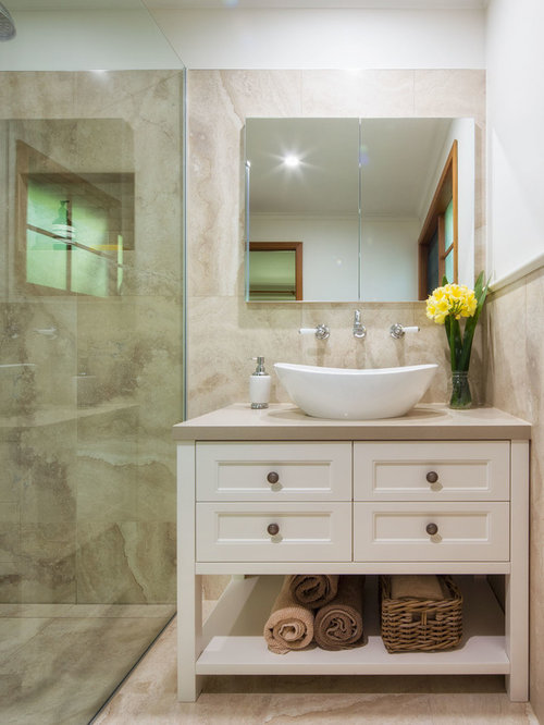 Inspiration For A Small Traditional Bathroom In Melbourne With A Vessel  Sink, White Cabinets,
