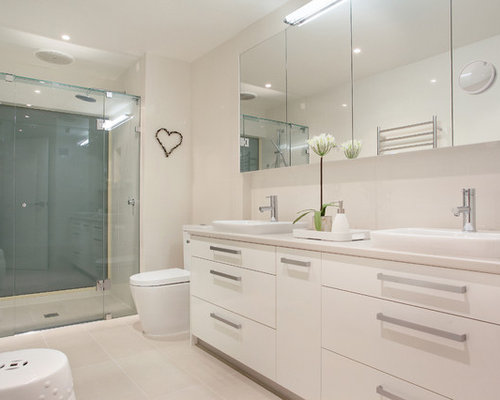 Inspiration for a contemporary alcove shower remodel in Melbourne with  flat panel cabinets  white. Wash Basin Cabinet   Houzz