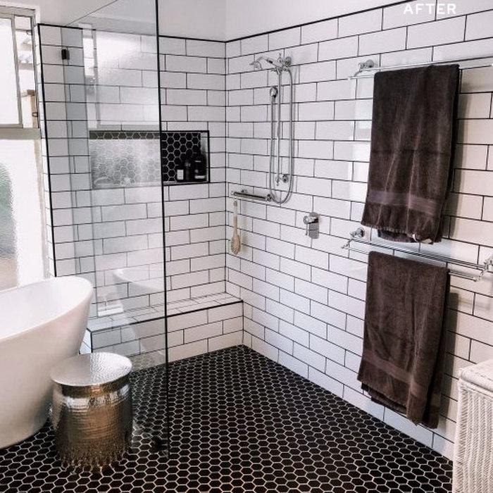 Black & White Modern/Vintage Bathroom Renovation