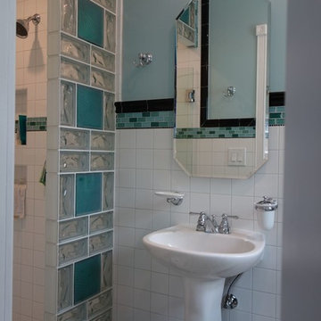 Multi patterned glass block shower wall with color in San Diego California