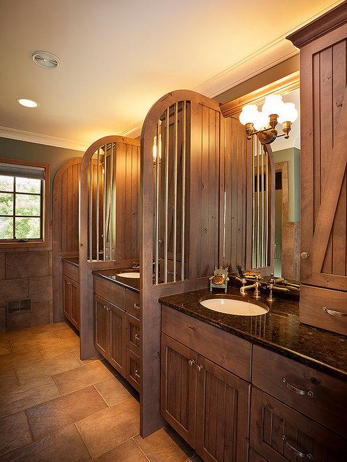 Salle de bain montagne avec un mur vert photos et id es d co de salles de bain - Taille moyenne salle de bain ...