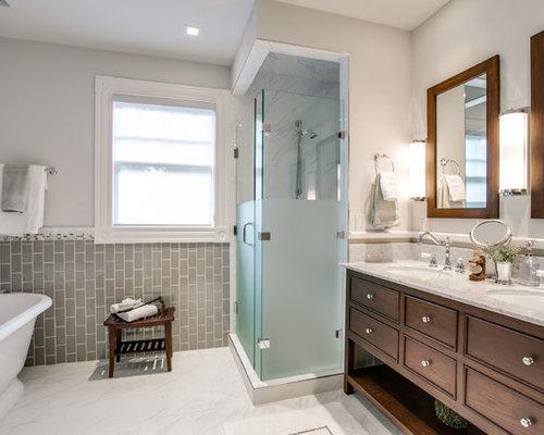 salle de bain victorienne avec un carrelage gris photos et id es d co de salles de bain. Black Bedroom Furniture Sets. Home Design Ideas