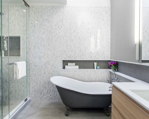 Inspiration For A Contemporary Claw Foot Bathtub Remodel In Toronto With An  Undermount Sink