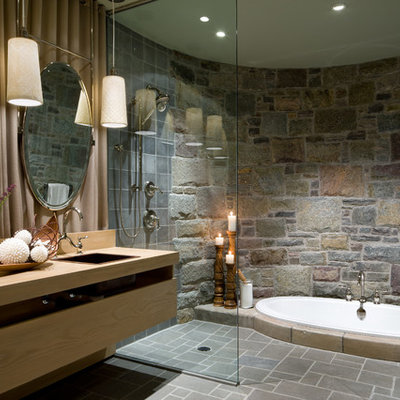 Inspiration for a timeless gray tile bathroom remodel in Other with a drop-in sink