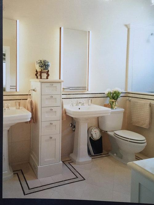 Victorian Bath Design Ideas, Pictures, Remodel & Decor with Beige Tile