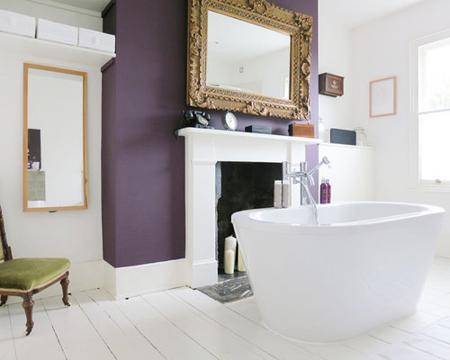 Photo Of A Victorian Bathroom In London With Freestanding Bath And Purple Walls