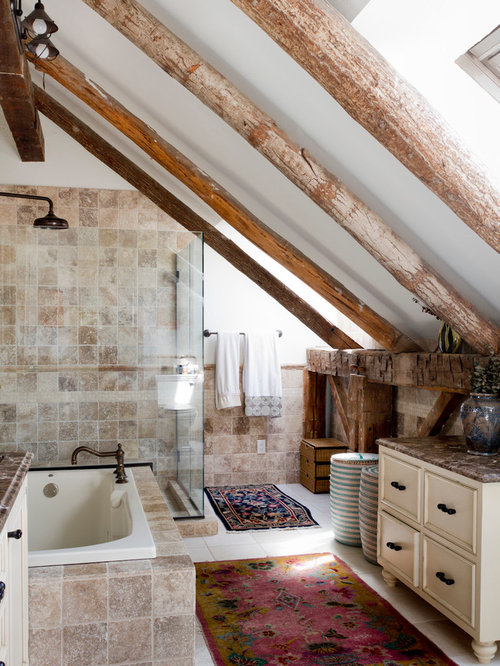 Example Of An Eclectic Beige Tile Bathroom Design In New York With White  Walls