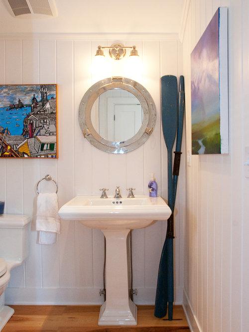 Example Of A Coastal Bathroom Design In Boston With Pedestal Sink