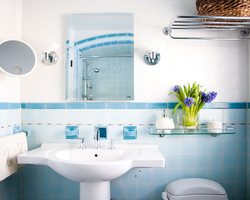 inspiration for an eclectic blue tile bathroom remodel in boston with a pedestal sink