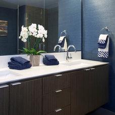 Transitional Bathroom by Margot Hartford Photography