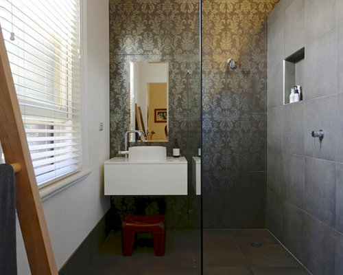 Example Of A Trendy Gray Tile Alcove Shower Design In Adelaide With A  Vessel Sink And